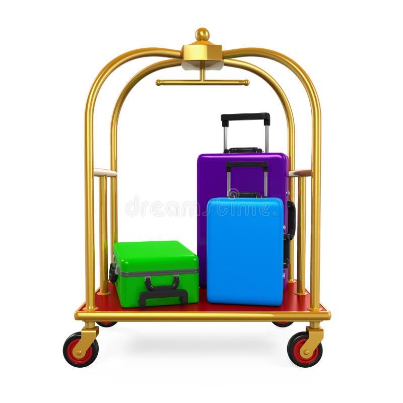 Carretilla del equipaje del hotel ilustración del vector