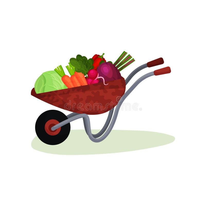 Carretilla del jardín por completo de verduras frescas Cosecha de la granja Comida sabrosa y sana Diseño plano del vector libre illustration