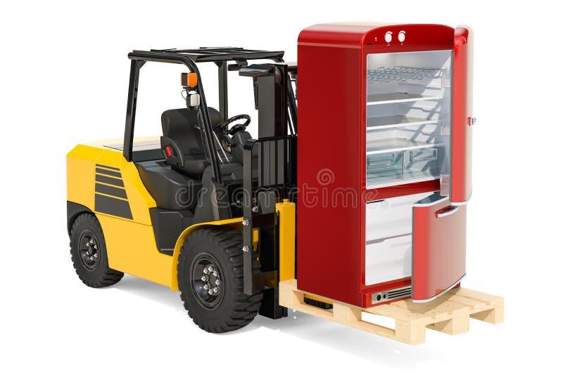 Carretilla elevadora con el refrigerador en la plataforma Entrega de la cocina ap libre illustration