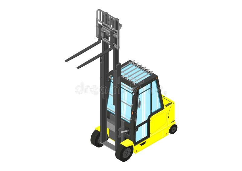 Carretilla elevadora del contrapeso amarillo stock de ilustración