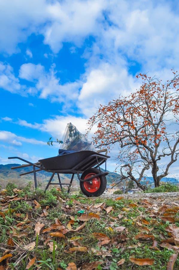 Carretilla en una colina en un día fino del otoño foto de archivo