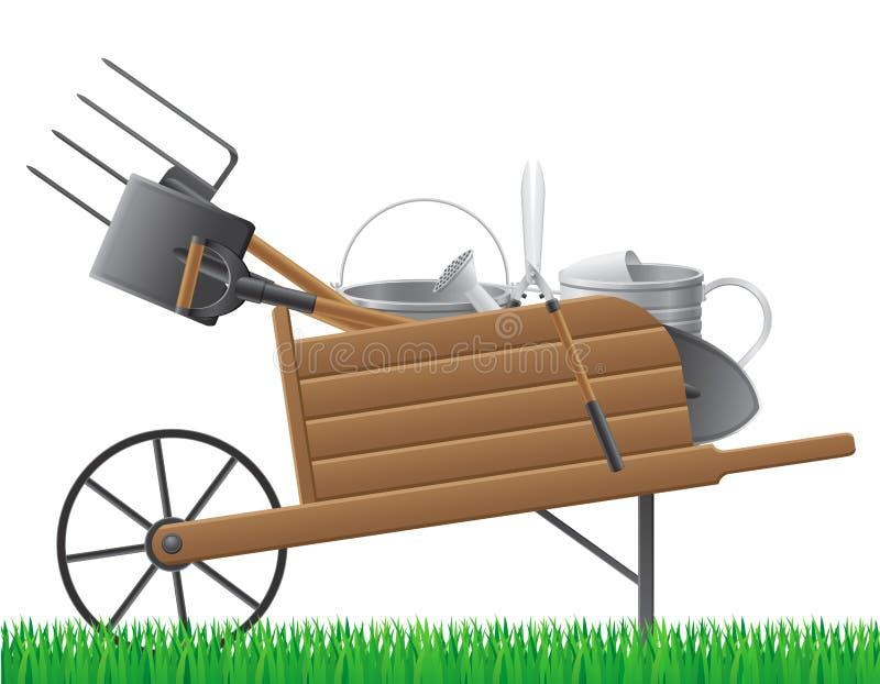 Carretilla retra vieja de madera del jardín con el vect de la herramienta libre illustration