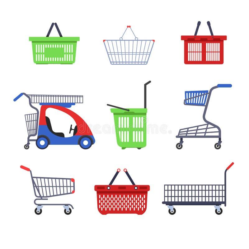 Carretti del supermercato o carrelli e contenitore di compera dei canestri sul carretto a mano vuoto di vettore delle ruote con i illustrazione di stock
