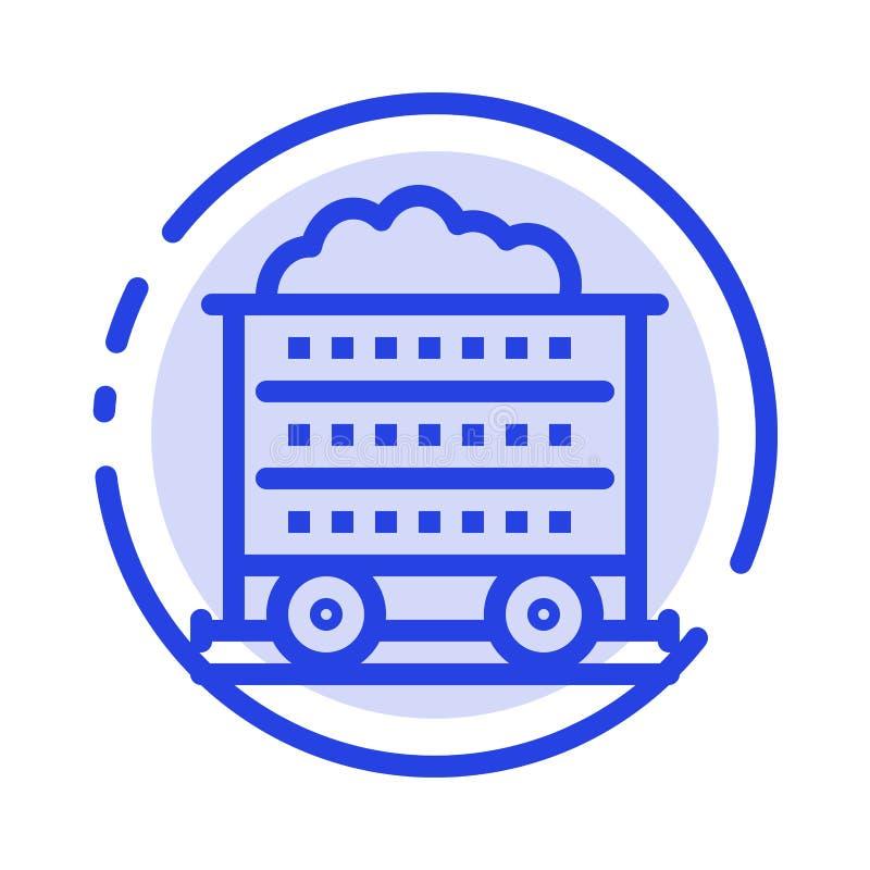 Carretto, carriola, costruzione, linea punteggiata blu linea icona della ruota illustrazione di stock