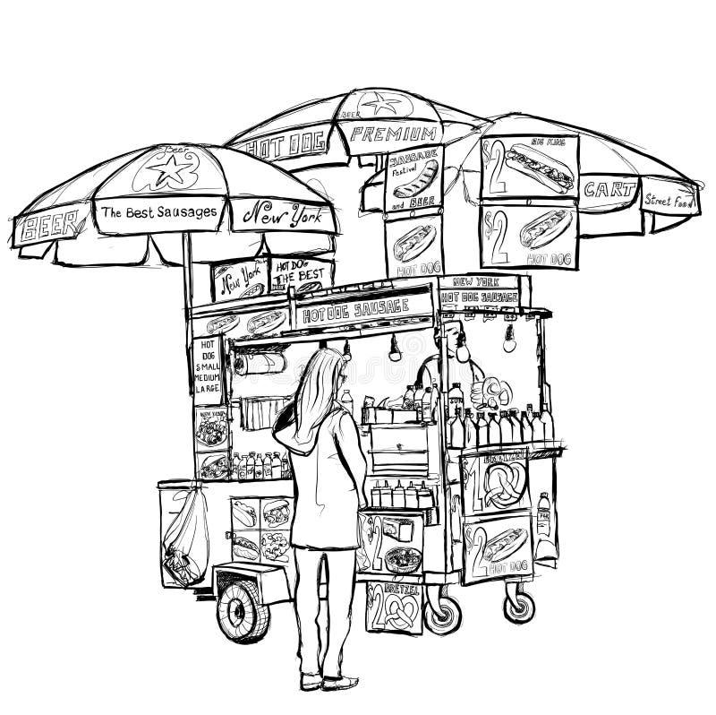 Carretto della via del hot dog a New York illustrazione di stock