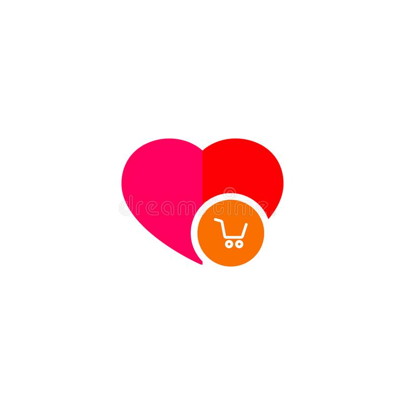 Carretto di commercio elettronico in un logo del cuore illustrazione di stock