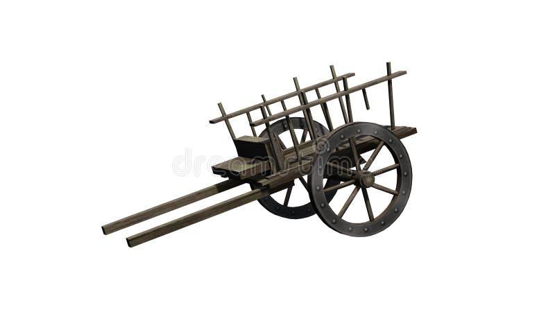 Carretto di legno antico - su fondo bianco illustrazione di stock