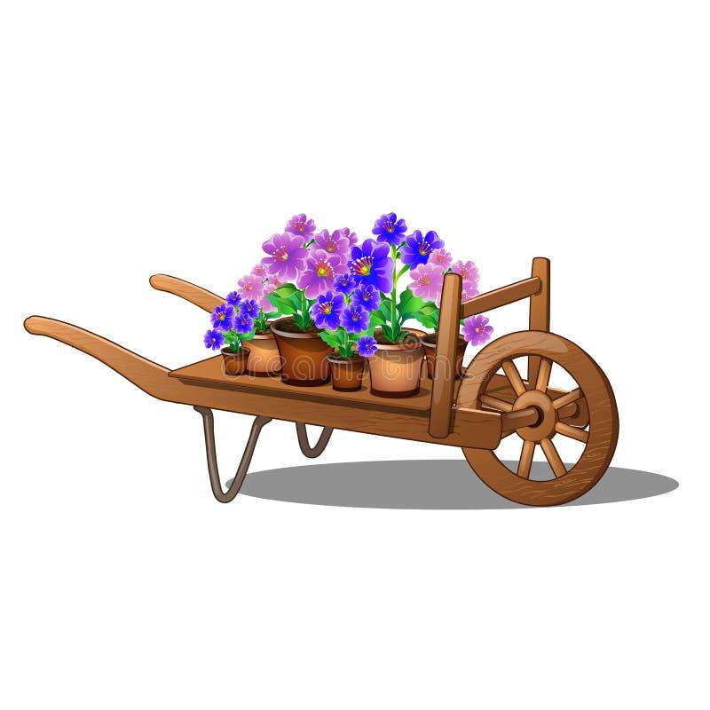 Carretto di legno con i fiori conservati in vaso isolati su fondo bianco Primo piano dell'illustrazione di vettore del fumetto illustrazione vettoriale