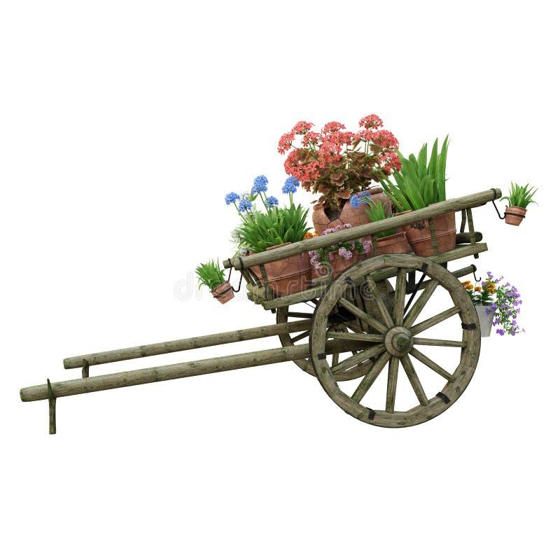 Carretto e vasi di fiori di legno fotografia stock