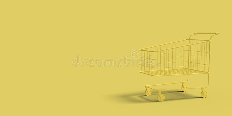 Carretto giallo del negozio su un'immagine astratta del fondo giallo Affare di compera di concetto minimo 3d rendono illustrazione vettoriale