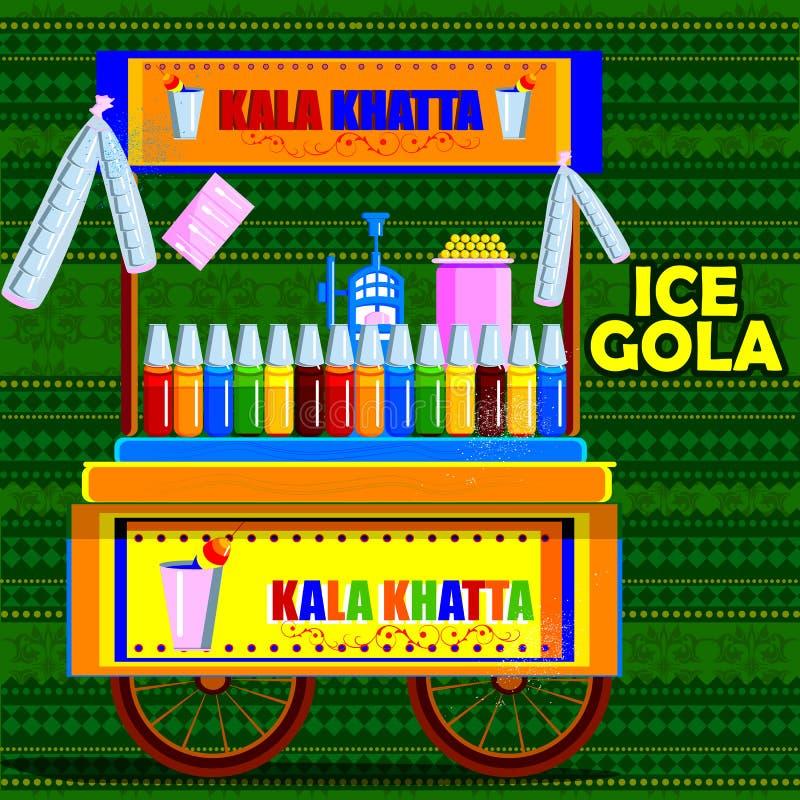 Carretto indiano di Gola del ghiaccio che rappresenta l'alimento della via dell'India royalty illustrazione gratis