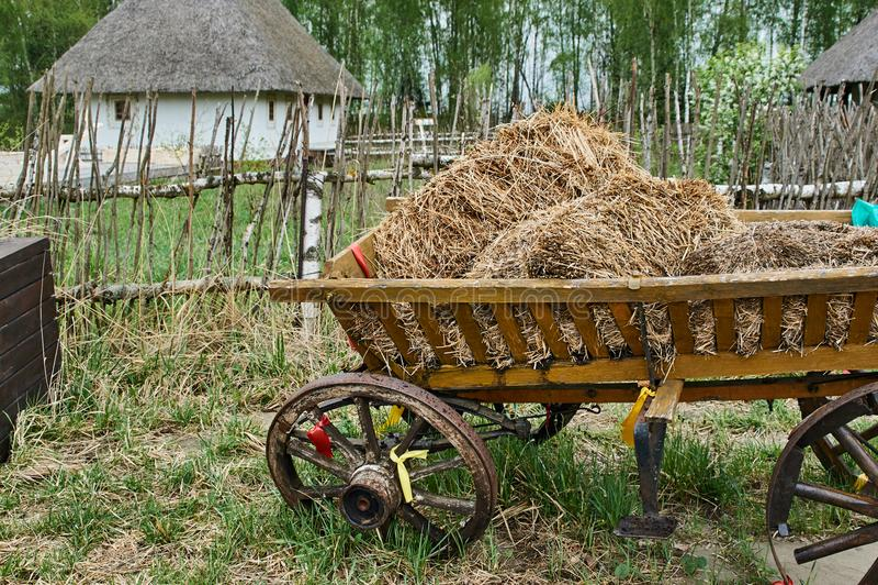 Carretto ucraino con fieno fotografia stock