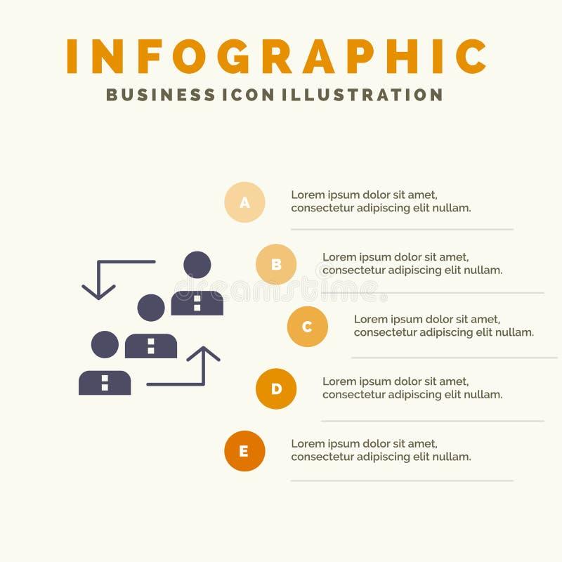 Carrière, avancement, employé, échelle, promotion, personnel, fond solide de présentation d'étapes d'Infographics 5 d'icône de tr illustration libre de droits