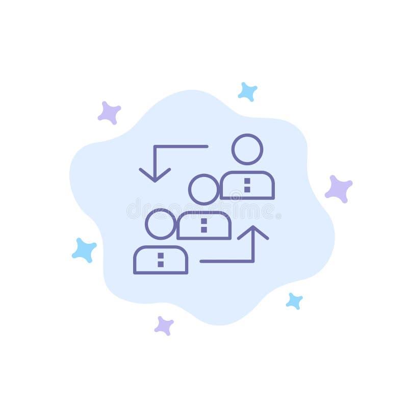 Carrière, avancement, employé, échelle, promotion, personnel, icône bleue de travail sur le fond abstrait de nuage illustration stock
