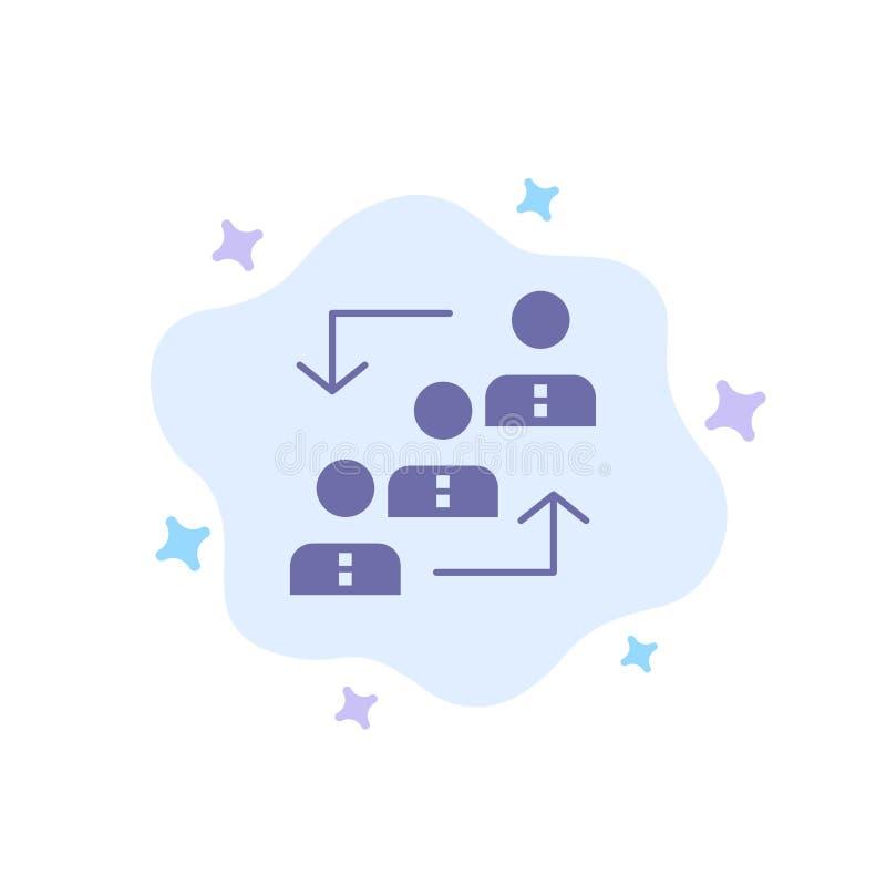 Carrière, avancement, employé, échelle, promotion, personnel, icône bleue de travail sur le fond abstrait de nuage illustration de vecteur