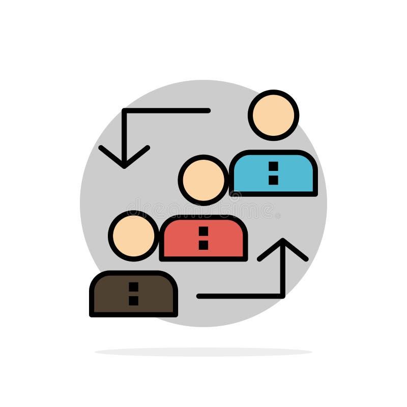 Carrière, avancement, employé, échelle, promotion, personnel, icône plate de couleur de fond abstrait de cercle de travail illustration stock