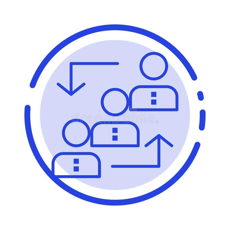 Carrière, avancement, employé, échelle, promotion, personnel, ligne pointillée bleue ligne icône de travail illustration stock