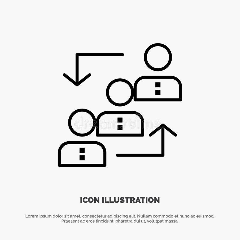 Carrière, avancement, employé, échelle, promotion, personnel, ligne vecteur de travail d'icône illustration libre de droits