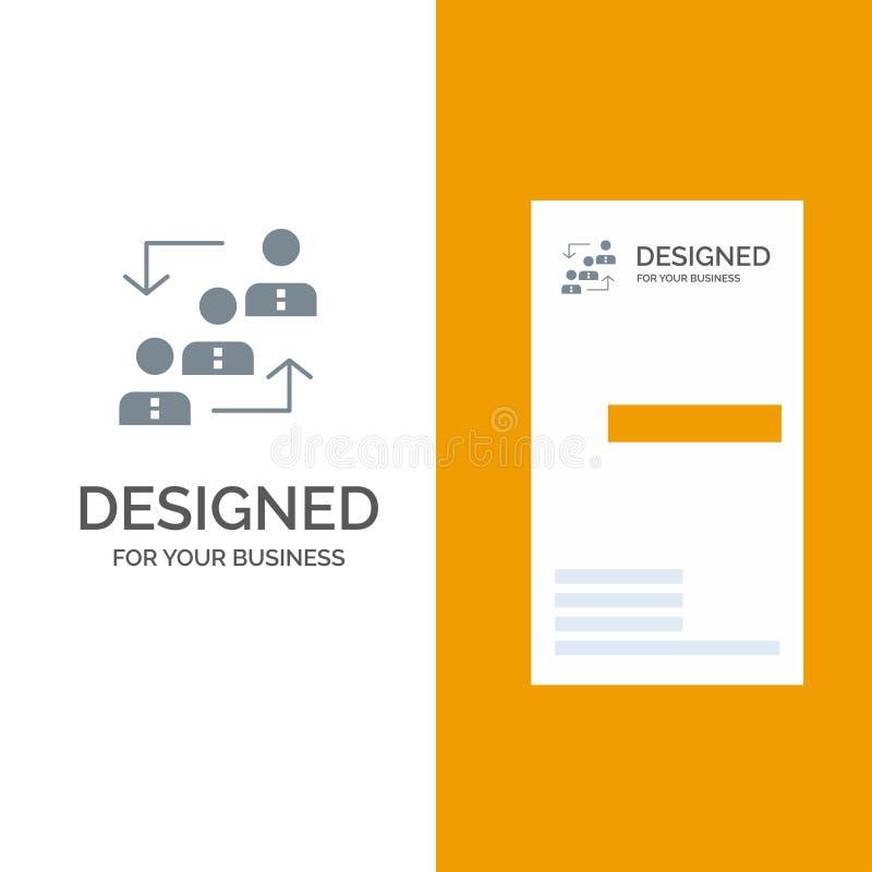 Carrière, avancement, employé, échelle, promotion, personnel, travail Grey Logo Design et calibre de carte de visite professionne illustration de vecteur
