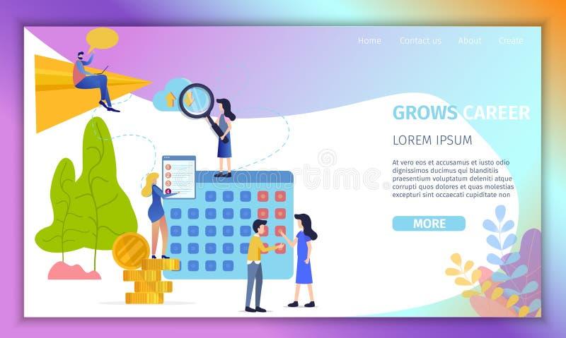 Carrière croissante en site Web plat de vecteur d'affaires illustration libre de droits