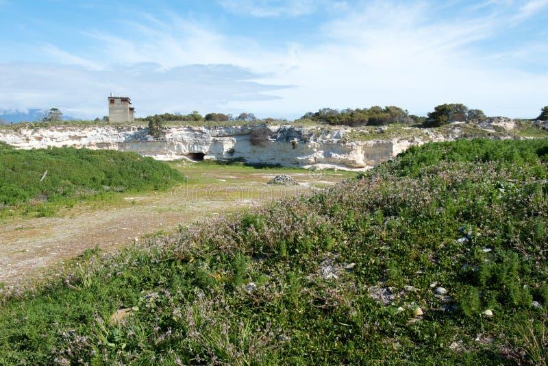 Carrière de chaux sur l'île de Robben photographie stock