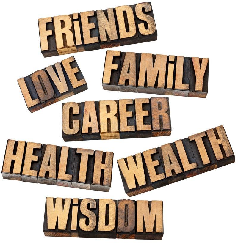 Carrière, famille, santé et d'autres valeurs photo stock