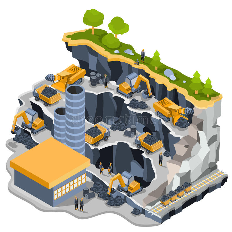 Carrière isométrique de charbonnage d'illustration de vecteur illustration stock