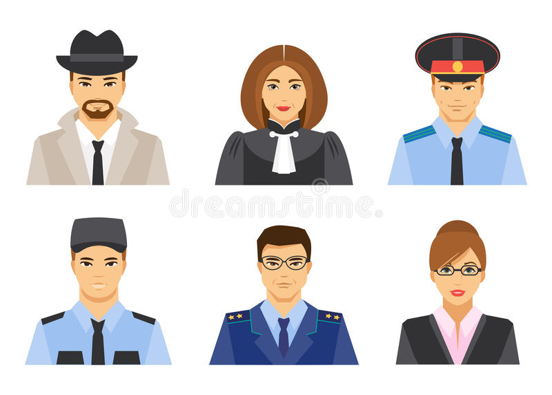 Carrière juridique Illustration de vecteur, style plat illustration stock