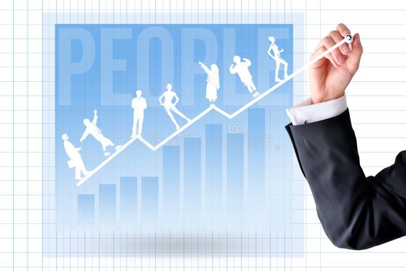 Carrière opleiding en ontwikkeling concept met zakenmanhand en grafiekgrafiek stock foto