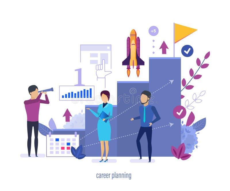 Carrière planning, plaatsende hoge doelstellingen, die succesvolle bedrijfsstrategie organiseren, royalty-vrije illustratie