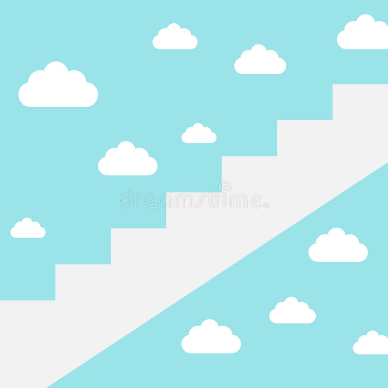 Carrièreladder aan wolken royalty-vrije illustratie