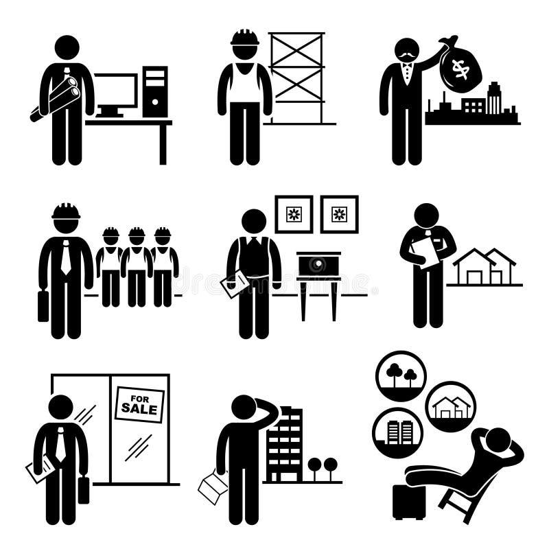 Carrières de professions des travaux d'immobiliers de construction illustration libre de droits