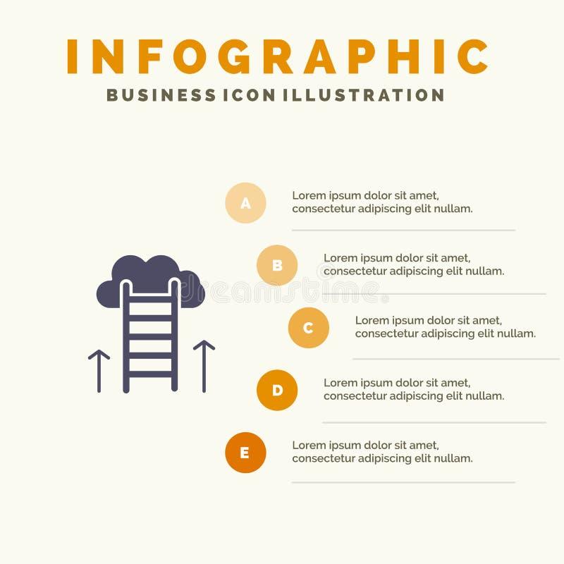 Carrièreweg, Carrière, Droom, Succes, Nadruk Stevig Pictogram Infographics 5 de Achtergrond van de Stappenpresentatie royalty-vrije illustratie
