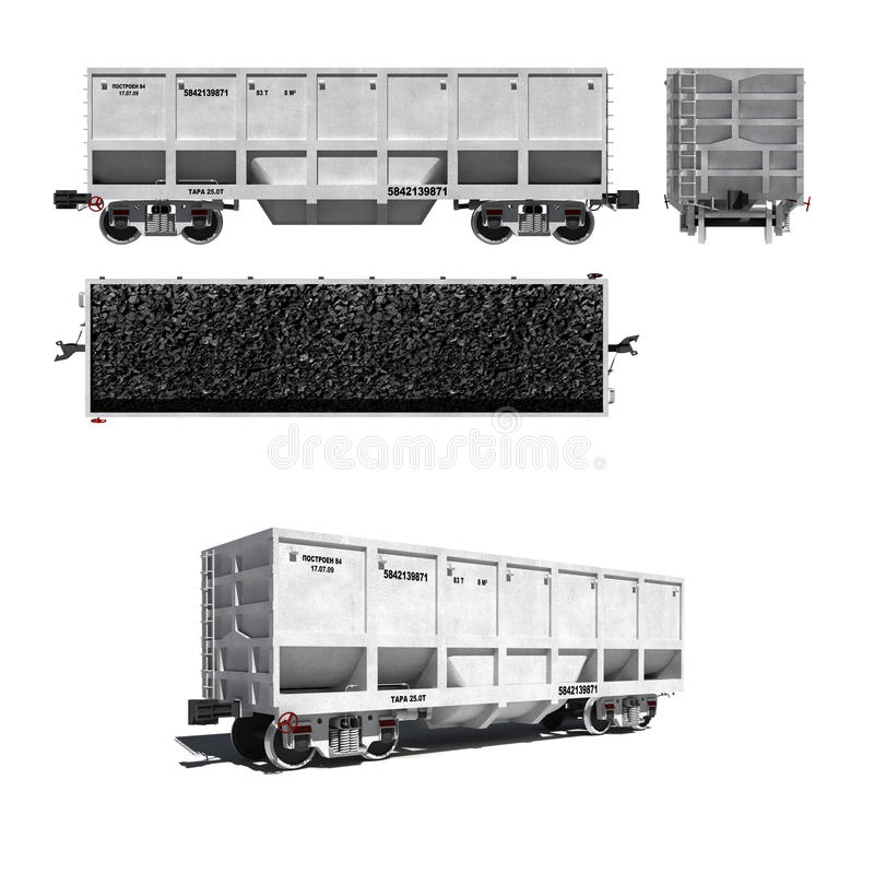 Download Carriage For Coal Transportation Isolated On White Stock Illustration - Image: 17878687