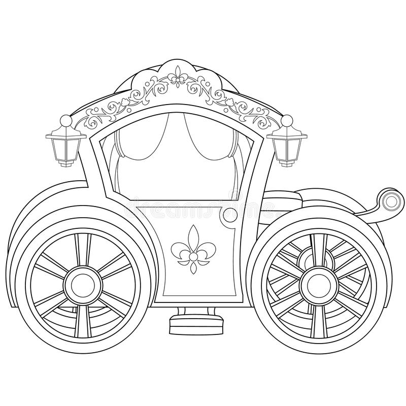 carriage coloring book page stock vector illustration of