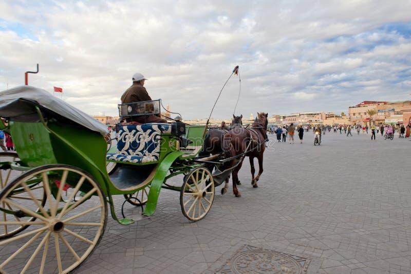 Coachman on the way to Jemaa el-Fnaa, Marrakech stock images