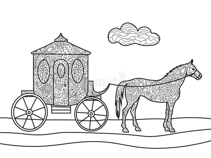 Carriage with horse coloring book vector vector illustration