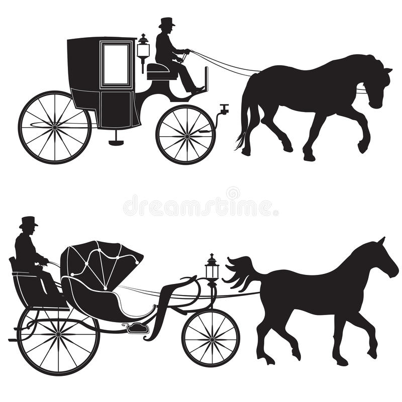 Carriage with horse. Hansom-cab set. Carriage with horse. Retro hansom-cab silhouette set isolated on white background royalty free illustration