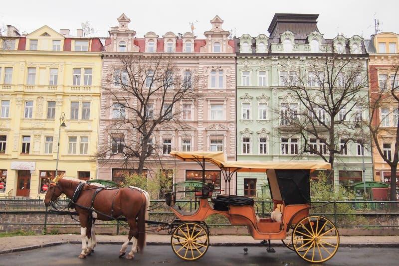 Carriage, Karlovy Vary (Carlsbad. ), west Bohemia, Czech Republic royalty free stock photography