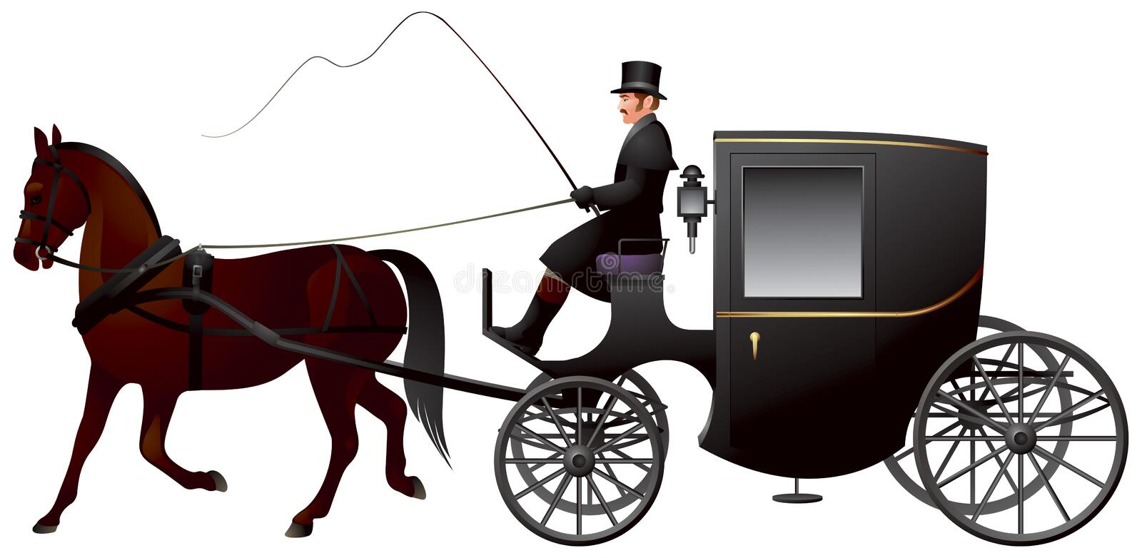Carriage, One Horse Brougham Cab. One Horse Brougham Cab, a light four-wheeled horse-drawn carriage, popular 19th century London taxi cab vector illustration