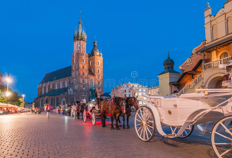 Carriages on The Main Market Square in Krakow. Poland royalty free stock photography