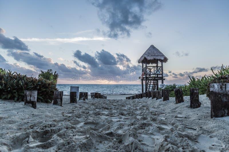 Carribean Morning Beach. A beach in the Carribean at sunrise stock photography