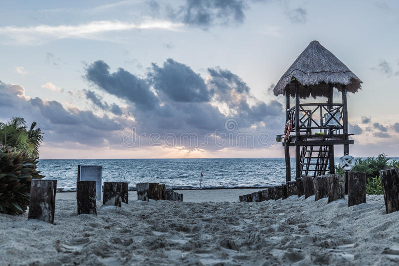 Carribean Morning Beach. A beach in the Carribean at sunrise royalty free stock images