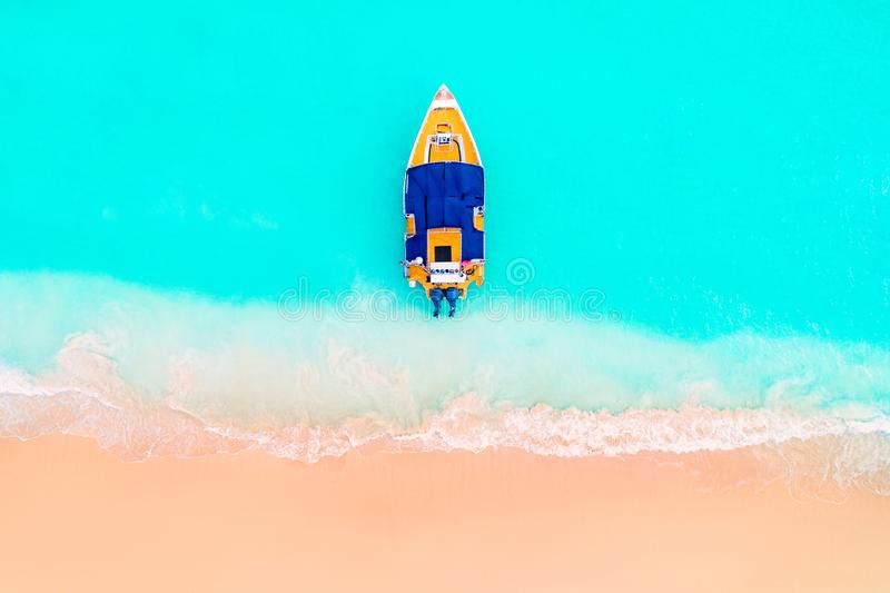 Caribbean sea and boat on the shore, beautiful panoramic view royalty free stock photos