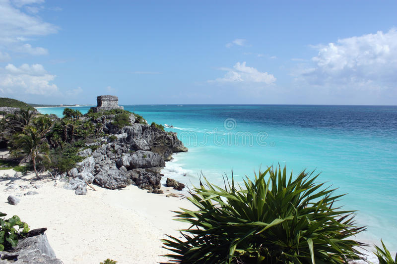 Carribean sea from tulum stock images