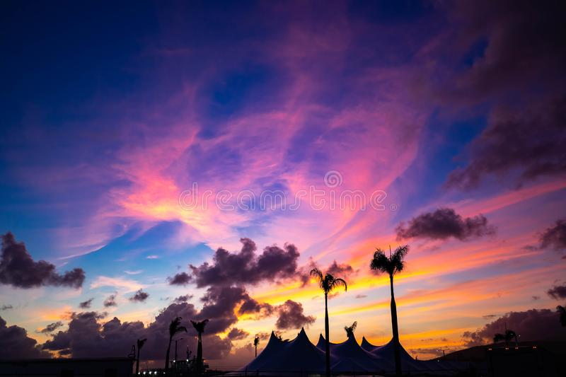 Carribean tropical sunset with palms at the beach. At dawn stock photo