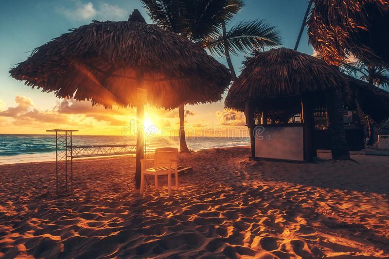 Carribean vacation, beautiful sunrise over tropical beach stock images