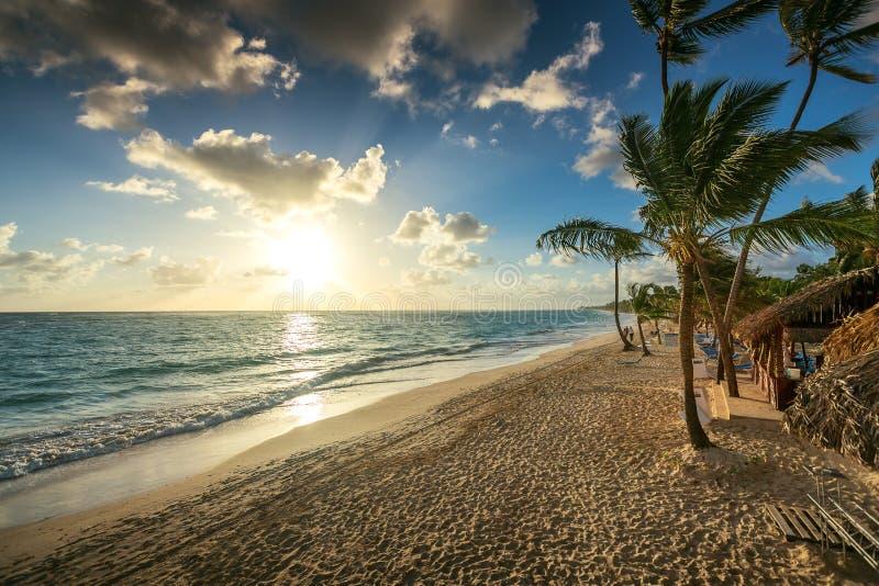 Carribean vacation, beautiful sunrise over tropical beach royalty free stock photos
