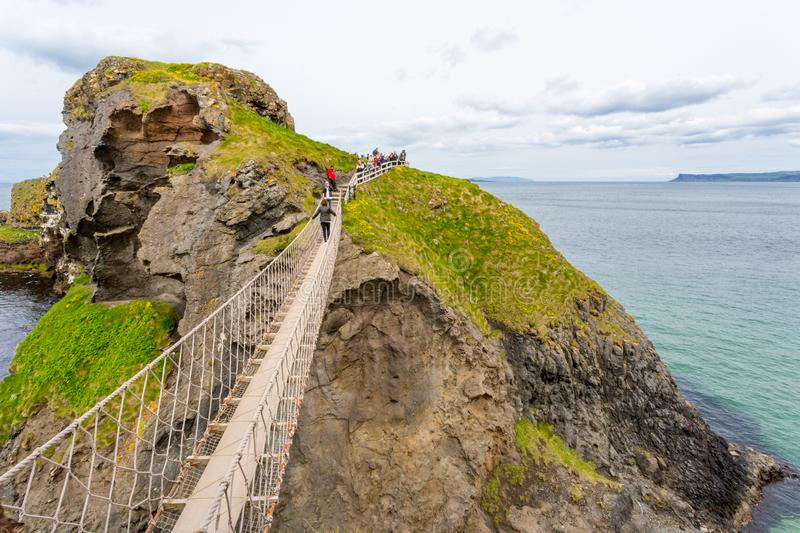 Carrick-a-Rede Linowy most obraz stock