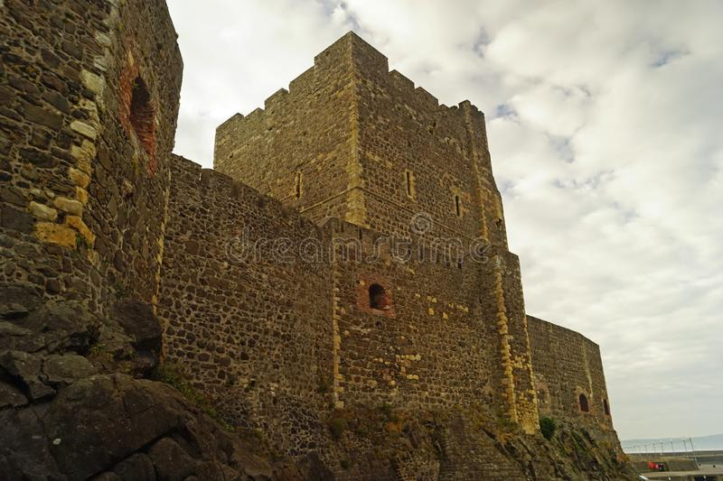 Carrickfergus Castle. Is a Norman-style castle in Carrickfergus, Northern Ireland stock photo